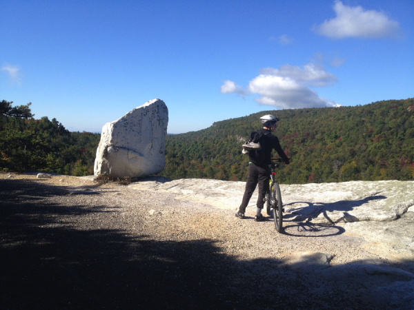 A biker enjoys the shortcut from Minnewaska to the Millbrook Trail.